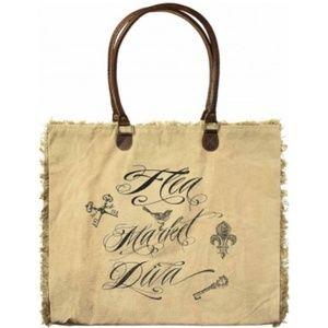 Flea Market Diva Oversized Market Tote Bag Canvas